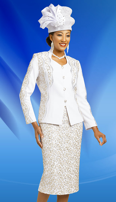 Ben Marc 48153-WS ( 2pc Knit Ladies Suit For Sunday With Intricate Design )
