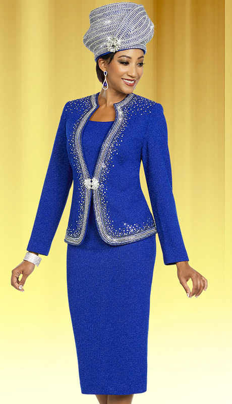 Ben Marc 48155-RO ( 2pc Womens Knit Church Suit With Embellished Trims )