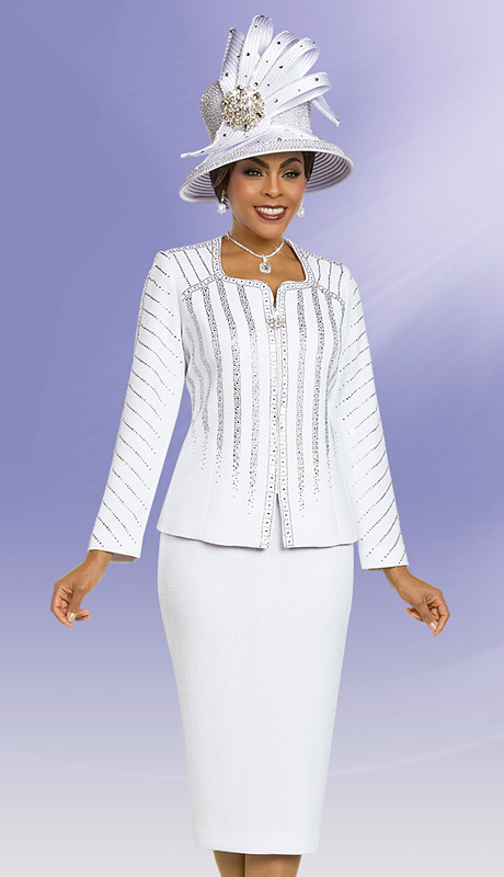 Ben Marc 48157-WH ( 2pc Knit Suit For Church With Embellished Jacket )