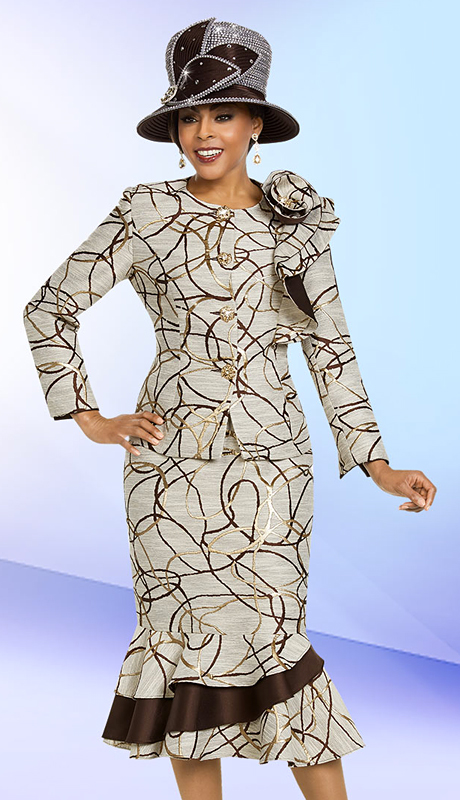 Ben Marc 48158-CM ( 2pc Womens Brocade Church Suit With Flounce Skirt And Ruffle Print Design )