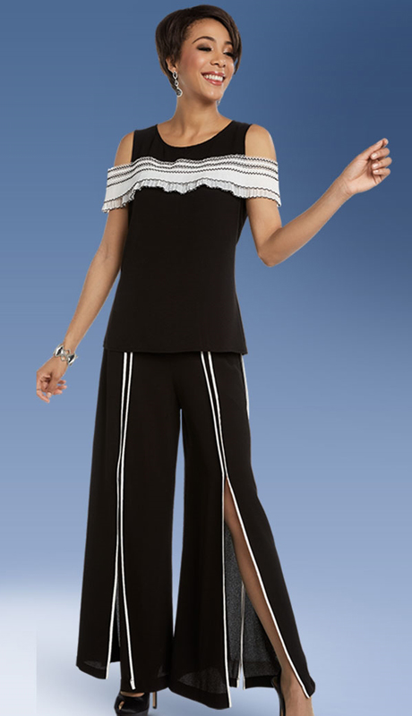 Casual Elegance By BenMarc 18322-BW  ( 2pc Open-Cut Pant Set )