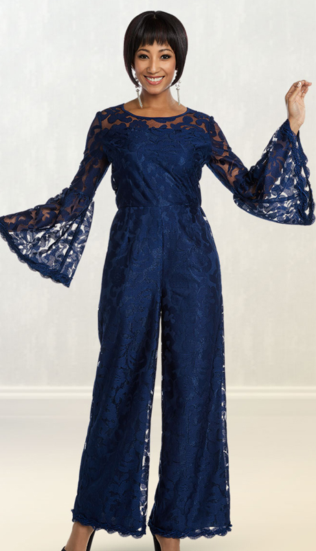 Casual Elegence By BenMarc 18323-NA (  1pc Womens Lace Jumpsuit With Long Bell Sleeves )