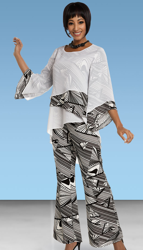 Casual Elegance By BenMarc 18325-OWP ( 2pc Printed Ladies Pant Suit With Asymmetric Layered Top )