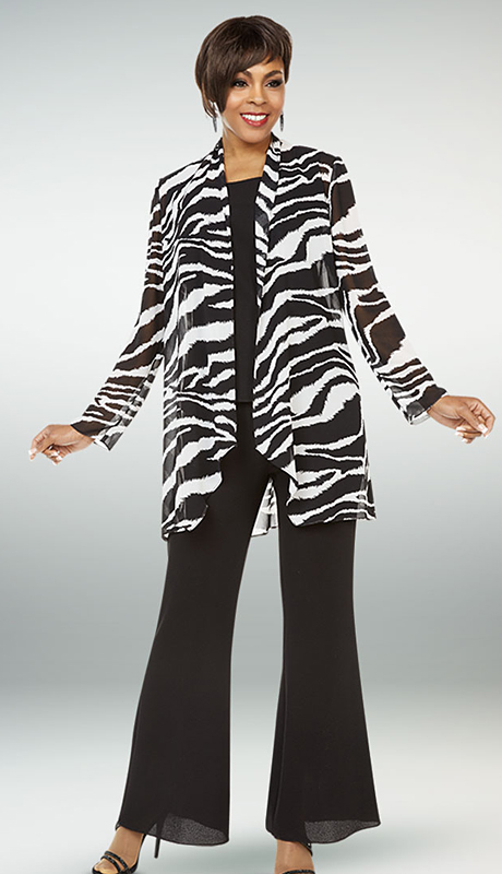 Casual Elegance By Ben Marc 18327-BOW ( 3pc Ladies Flared Pant Suit With Animal Print Jacket )