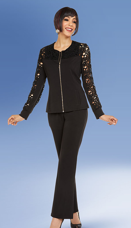 Casual Elegance By BenMarc 18341-BK ( 3pc Jewel Neckline Womens Pant Suit With Zipper Front Cutout Style Sleeve Top )