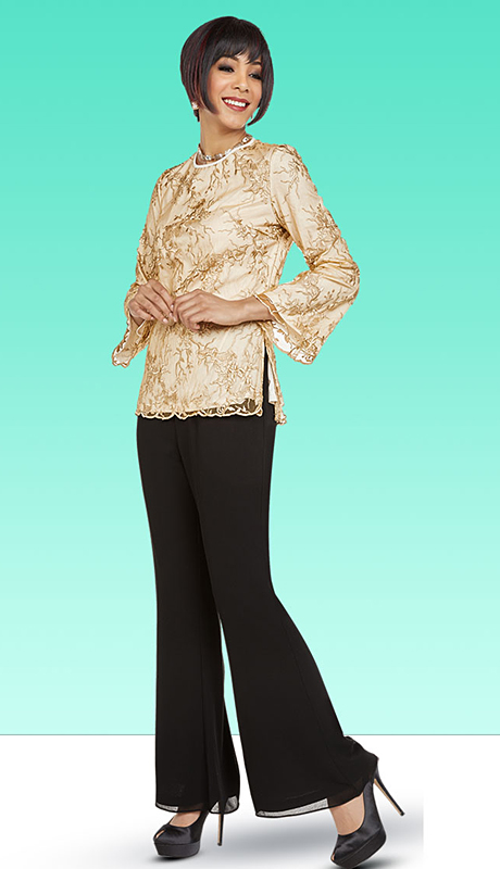 Casual Elegance By BenMarc 18344-CB ( 2pc Womens Flared Pant Suit With Bell Sleeves )