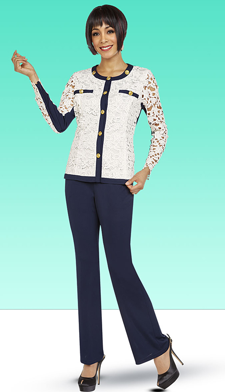 Casual Elegance By BenMarc 18345-OWN ( 3pc Womens Pant Suit With Solid Trimmed Lace Top )