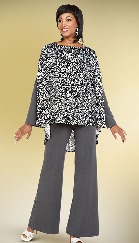 Casual Elegance By BenMarc 18350-GP ( 2pc Womens Pant Suit With Print Design Top )