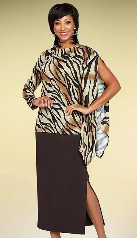 Casual Elegance By BenMarc 18351-CP ( 2pc Skirt Suit With Animal Print One Open Sleeve Design Top )