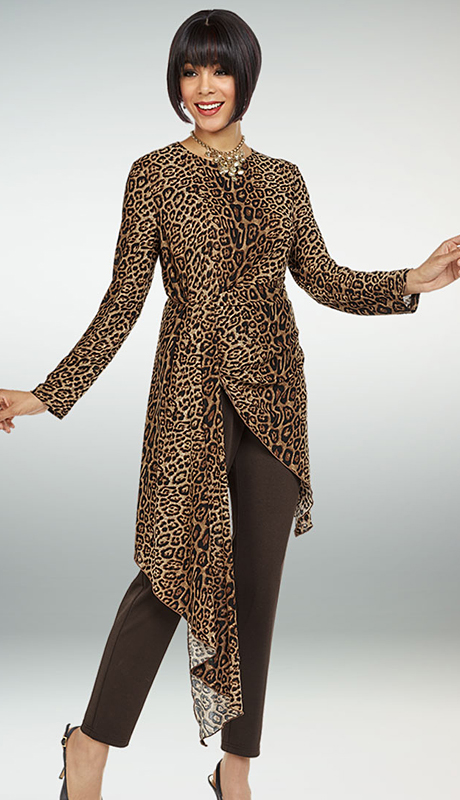 Casual Elegance By Ben Marc 18352-AP ( 2pc Womens Pant Suit With Animal Print Asymmetric Hem Design Top )
