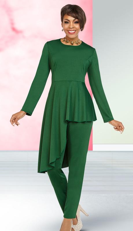 Casual Elegance By Ben Marc 18353-GR ( 2pc Womens Pant Suit With Asymmetric Hem Design Top )