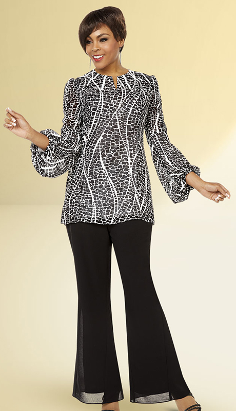 Casual Elegance By BenMarc 18315-BW ( 2pc Womens Flared Pant Suit With Printed Puff Sleeve Design Top )