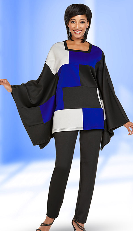 Casual Elegance By Ben Marc 18357-BM ( 2pc Womens Pant Suit With Square Neckline Poncho Style Color Block Top )