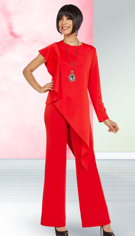 Casual Elegance By Ben Marc 18359-RE ( 2pc Womens Pant Suit With Asymmetric Style One Sleeve Design )