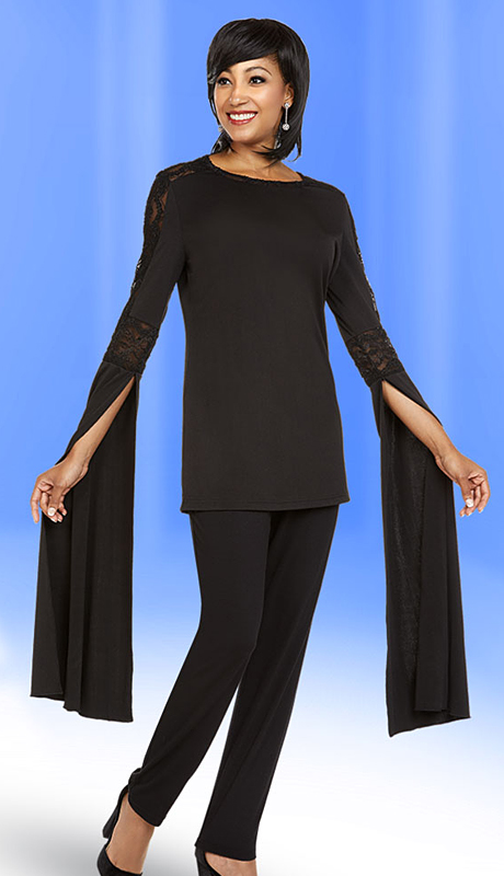 Casual Elegance By Ben Marc 18360-BK ( 2pc Ladies Pant Suit With Extended Angel Sleeve Design Top )