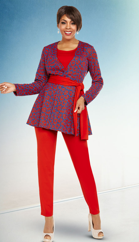 Casual Elegance By BenMarc 18363 ( 2pc Ladies Pant Suit With Animal Inspired Print And Solid Sash )