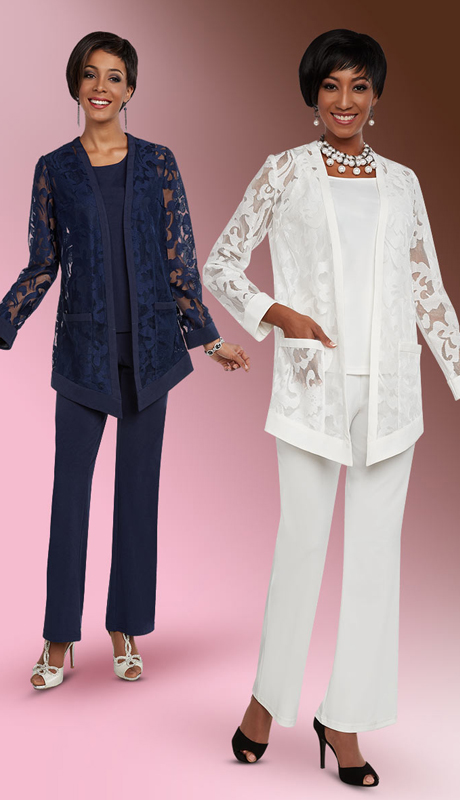 Casual Elegance 18294 ( 2pc Womens Pant Suit With Cut Out Design Jacket )