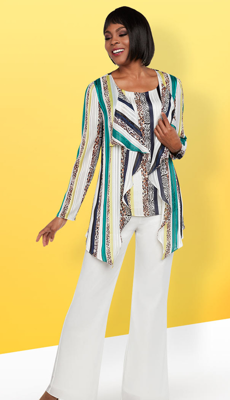 Casual Elegance 18290 ( 2pc Womens Pant Suit With Multi Color Top Set )