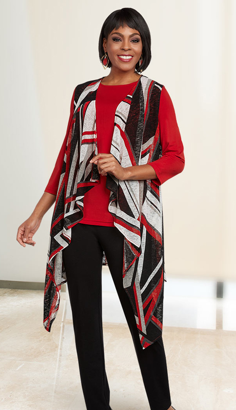 Casual Elegance 18288 ( 2pc Womens Pant Suit With Shawl Style Top Set )