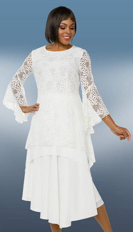 Casual Elegance 18286 ( 2pc Womens Skirt Suit For Sunday With Layered Lace Top )