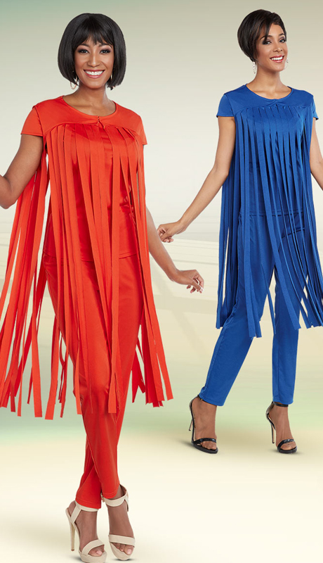 Casual Elegance 18285 ( 2pc Pant Suit With Carwash Fringe Style Top )
