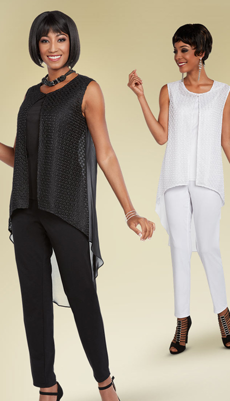 Casual Elegance 18284 ( 2pc Pant Suit With High-Low Sleeveless Top )