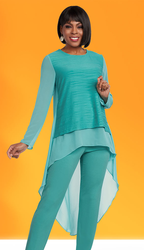 Casual Elegance 18283  ( 2pc Womens Pant Suit With High-Low Layered Top )