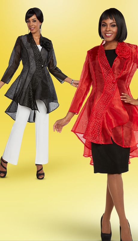 Casual Elegance 18302 ( 2pc Womens Translucent High Low Style Jacket )