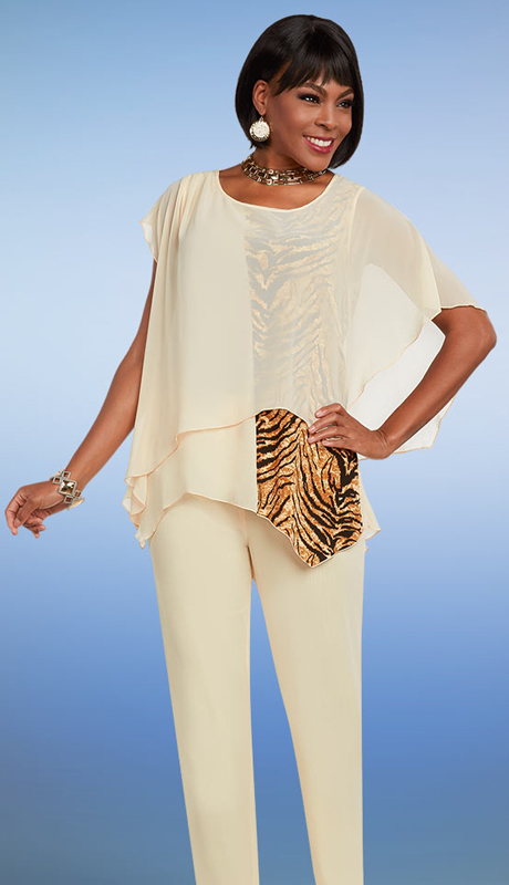 Casual Elegance 18280 ( 2pc Womens Pant Suit With Mesh & Animal Print Layered Top )