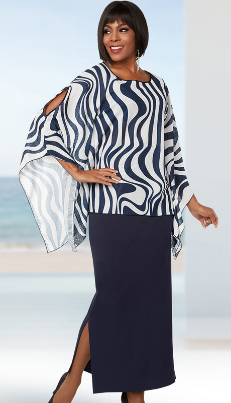 Casual Elegance 18273 ( 2pc Womens Skirt Suit For Church With Wavy Stripe Print Open Sleeve Top )