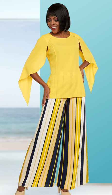Casual Elegance 18270 ( 2pc Womens Multi Stripe Pant Suit With Angel Sleeves )