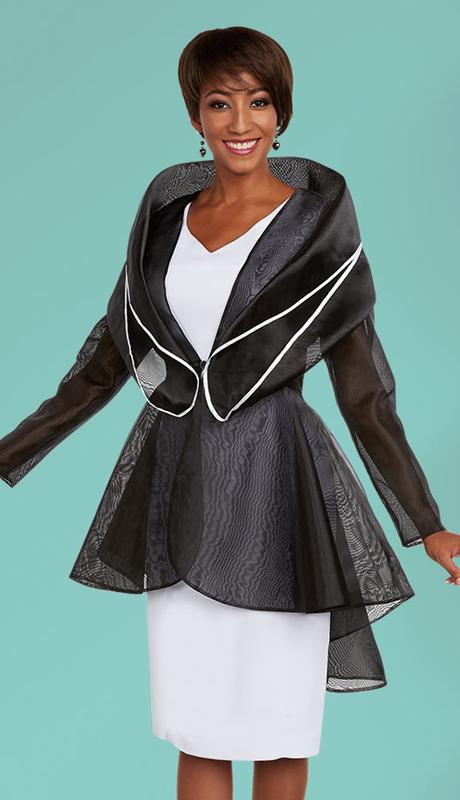 Casual Elegance 18301 ( 2pc Womens Portrait Collar High Low Jacket )