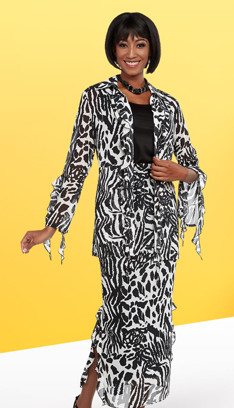 Casual Elegance 18298 ( 2pc First Ladies Skirt Suit With Animal Print Pattern )