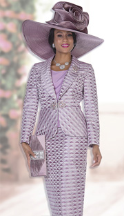 Champagne Italy 5010 ( 3pc Novelty Brocade Womens Church Suit With Tonal Triangle Pattern Jacket, Cami And Skirt )