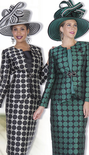 Champagne Italy 5116 ( 3pc Exclusive Embossed Brocade In Polka-Dot Pattern, Ladies Church Suit With Jacket, Vest And Skirt )