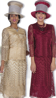 Champagne Italy 5105 ( 2pc Exclusive Fabric Womens Church Suit With Ribbon Weave Pattern And Stripe On Jacket And Skirt )