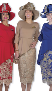 Champagne Italy 5102 ( 2pc Peachskin Womens Church Suit, Peplum Asymmetric Top And  Exclusive Metallic Lace Skirt )