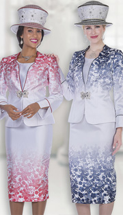 Champagne Italy 5114 ( 3pc Satin Womens Church Suit With Exclusive Floral Print  And Ornate Rhinestone Clasp, Jacket, Vest And Skirt )