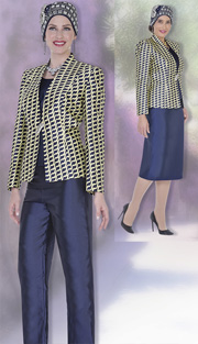 Champagne Italy 5121 ( 4pc Satin Ladies Wardrobe Set With Exclusive Print, Jacket, Vest, Skirt And Pant )