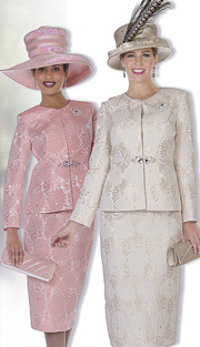 Champagne Italy 5110 ( 2pc Metallic Brocade Womens Church Suit With Floral Print Jacket And Skirt )