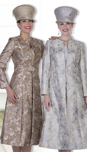 Champagne Italy 5109 ( 2pc Metallic Embossed Brocade Womens Sunday Long Coat Dress With Marbled Pattern )