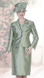 Champagne Italy 5127 ( 2pc Satin Womans Church Suit With Jacket, Skirt And Rhinestone Clasp )