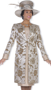 Champagne Italy 5118 ( 2pc Metallic Brocade Womens Long Jacket And Floral Print With Solid Satin Dress For Church )