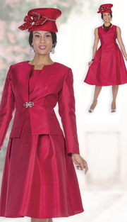 Champagne Italy 5123 ( 2pc Satin Womens Church Jacket Dress With Pleated Waist And Rhinestone Clasp )