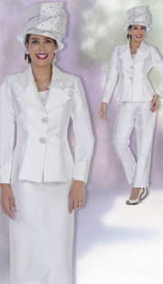 Champagne Italy 5124 ( 4pc Satin Womens Church Suit Wardrobe With  Pleated Waist Jacket And Rose Applique, Vest, Skirt And Pant )