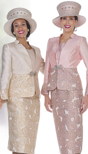 Champagne Italy 5108 (3pc Satin And Metallic Brocade Womens Church Suit With Rose Pattern, Jacket, Vest And Skirt )