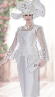 Aussie Austine 5008 ( 3pc Satin Womans Church Suit With Sheer Jacket And Embroidered Lace Details, Vest And Skirt )