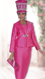 Champagne Italy 5012 ( 3pc Satin Ladies Church Suit With Jacket, Vest Skirt And Filigree Rhinestone Clasp With Brooch )