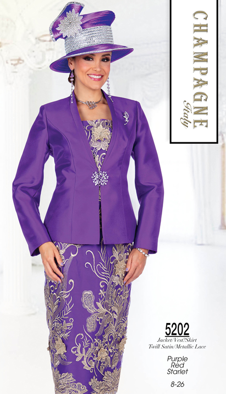 Champagne Italy 5202-PU ( 3pc Satin With Metallic Lace Suit For Church )