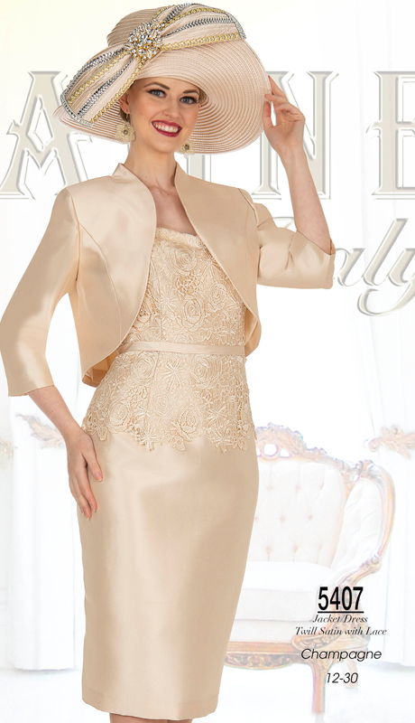 Champagne Italy 5407-SG ( 2pc Satin And Lace Church Dress )